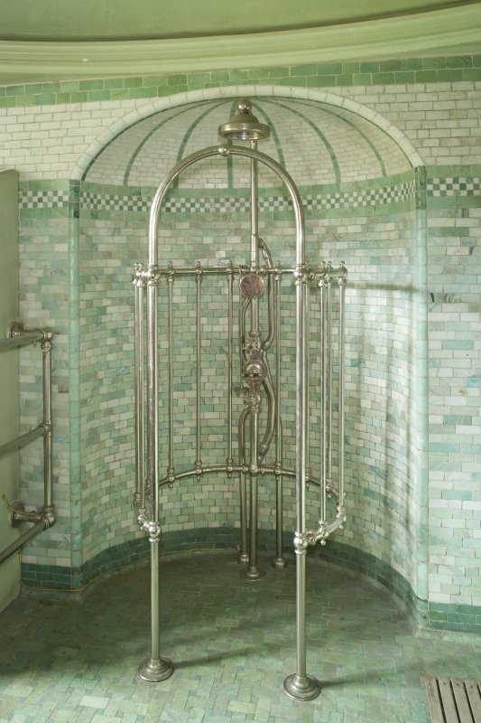 Interior view of Ardkinglas House showing first floor south shower room with shower and tiled recess.