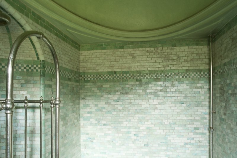 Interior. 1st floor, south shower room, detail of tilework