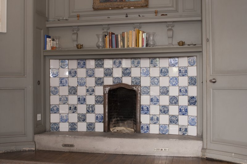 Interior. 2nd floor, Miss Noble's bedroom, detail of fireplace