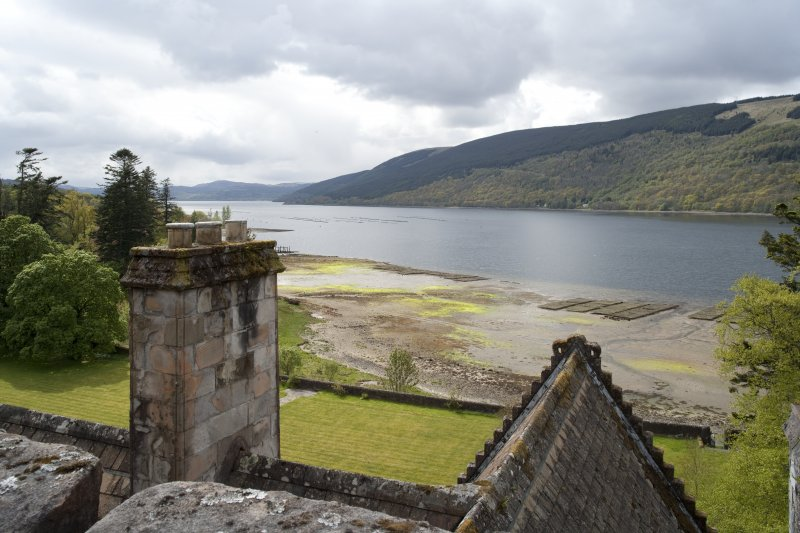 View looking towards Loch Fyne from parapet of tower
