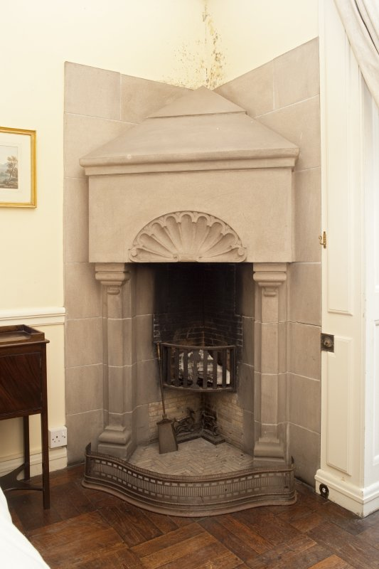 Interior. 2nd floor, bedroom (no.10 on plan), detail of fireplace