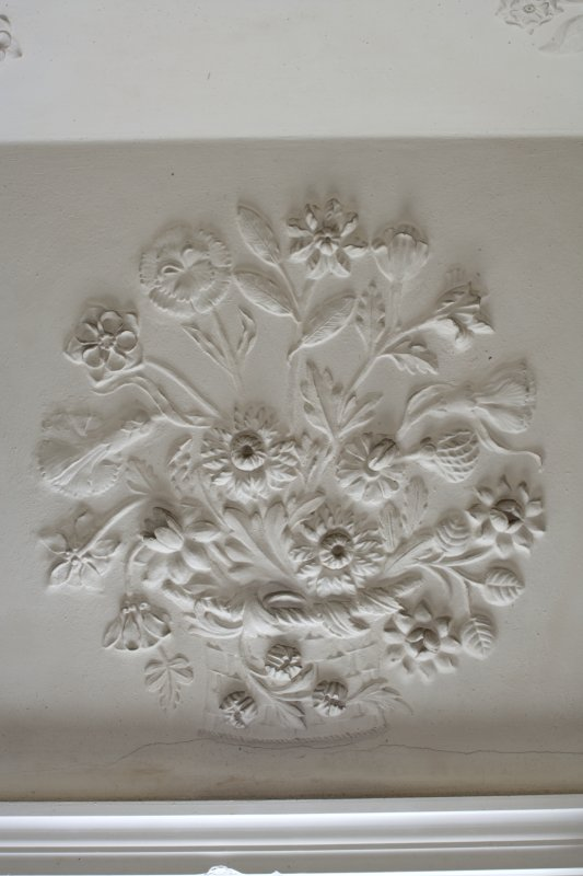 Interior. 2nd floor, bedroom (no. 7 on plan), detail of plasterwork