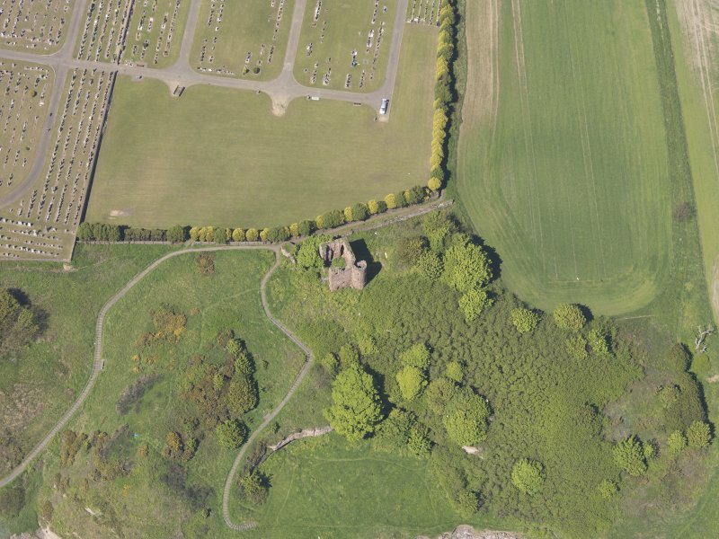 Oblique aerial view of Macduff Castle, taken from the SE.