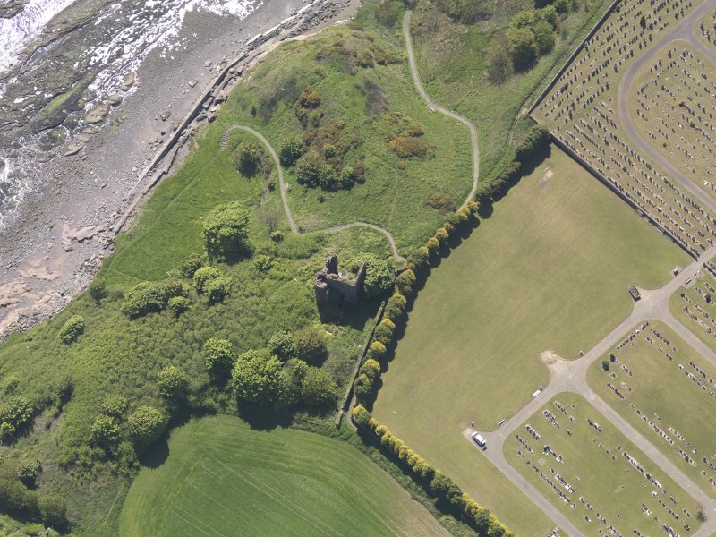Oblique aerial view of Macduff Castle, taken from the N.