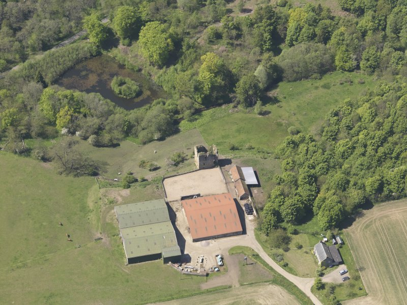 Oblique aerial view of Pitcruvie Castle, taken from the E.