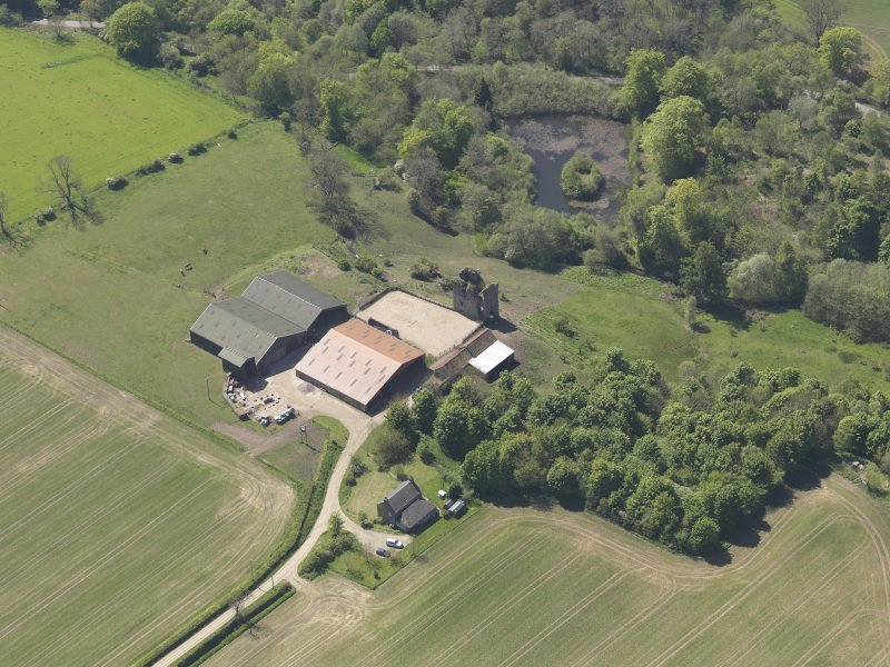 Oblique aerial view of Pitcruvie Castle, taken from the NE.