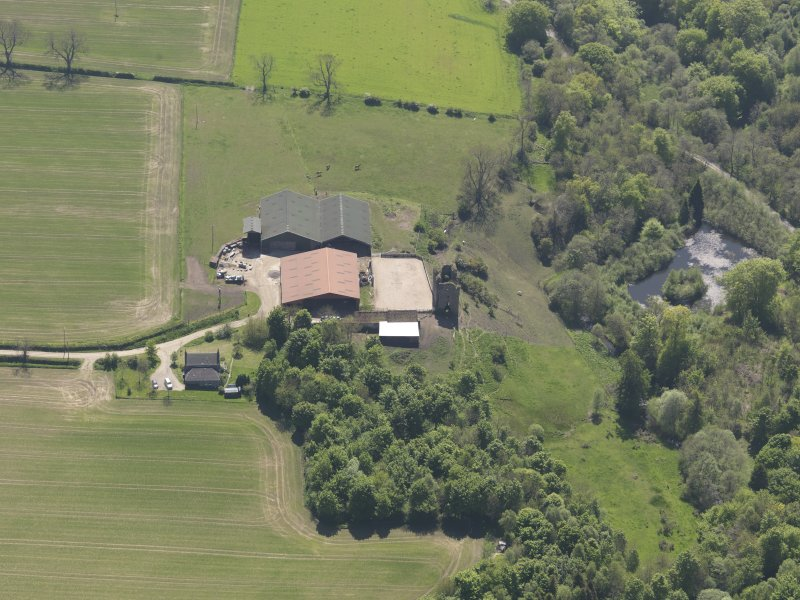 Oblique aerial view of Pitcruvie Castle, taken from the N.