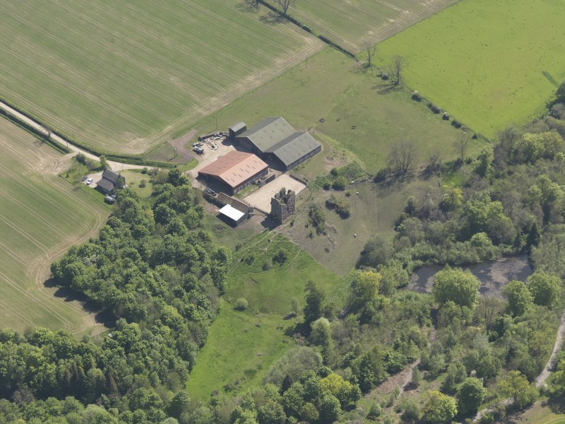 Oblique aerial view of Pitcruvie Castle, taken from the NW.