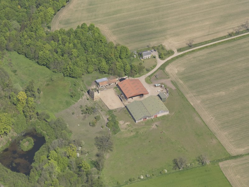 Oblique aerial view of Pitcruvie Castle, taken from the S.
