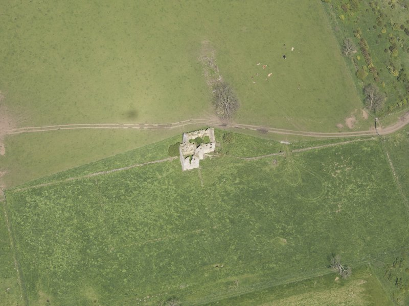 Oblique aerial view of Pittarthie Castle, taken from the S.