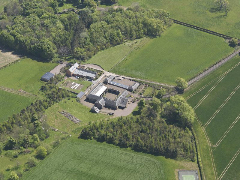 Oblique aerial view of Greenside Steading, taken from the NW.