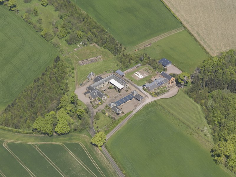 Oblique aerial view of Greenside Steading, taken from the SSW.