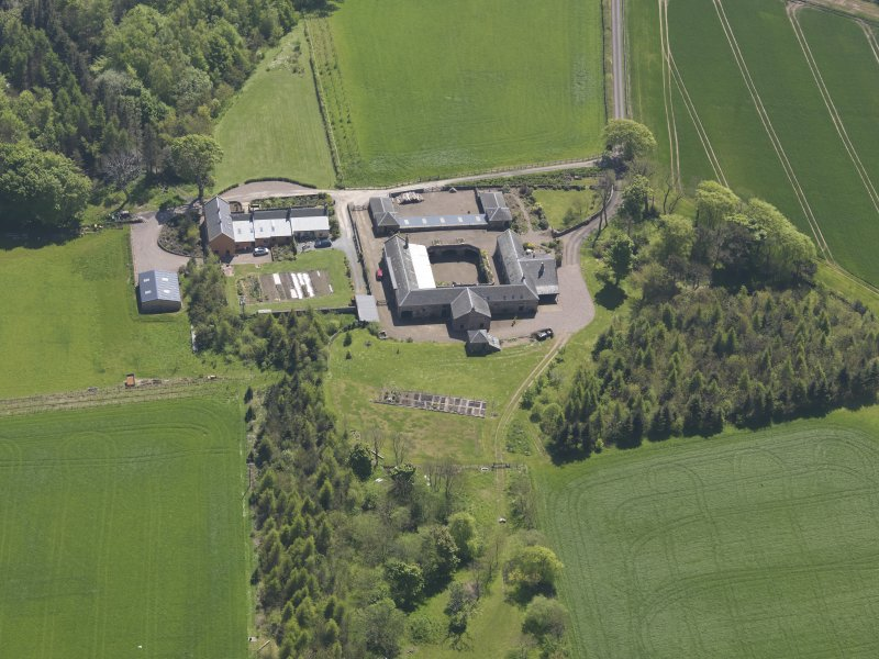 Oblique aerial view of Greenside Steading, taken from the NNW.