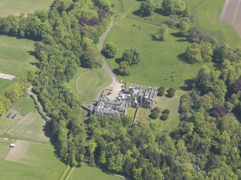 Oblique aerial view of House of Falkland, taken from the W.