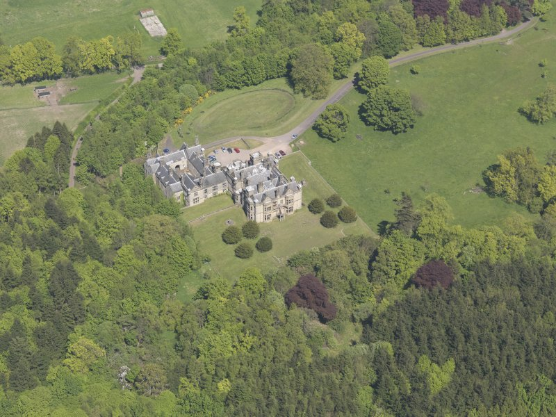 Oblique aerial view of House of Falkland, taken from the SSW.