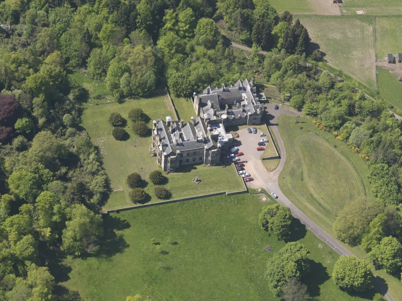 Oblique aerial view of House of Falkland, taken from the E.