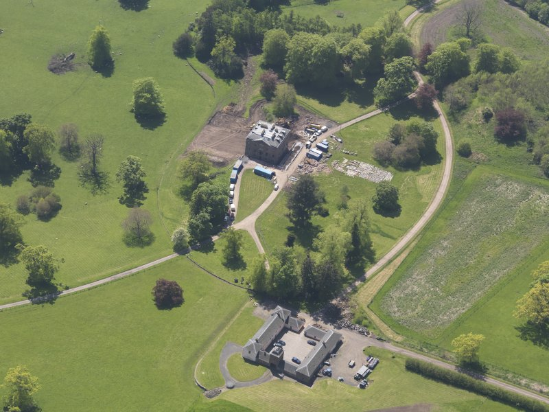 Oblique aerial view of Pitlour House, taken from the NNE.