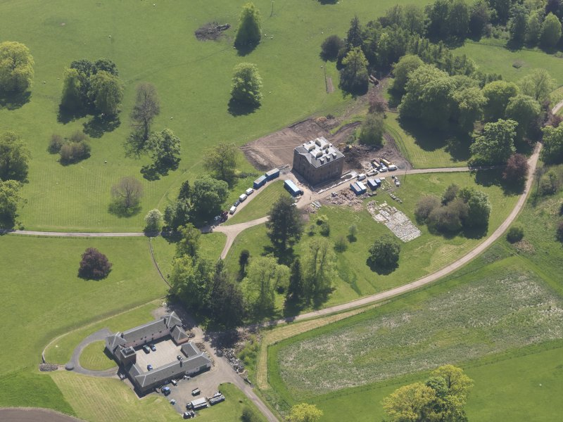 Oblique aerial view of Pitlour House, taken from the N.
