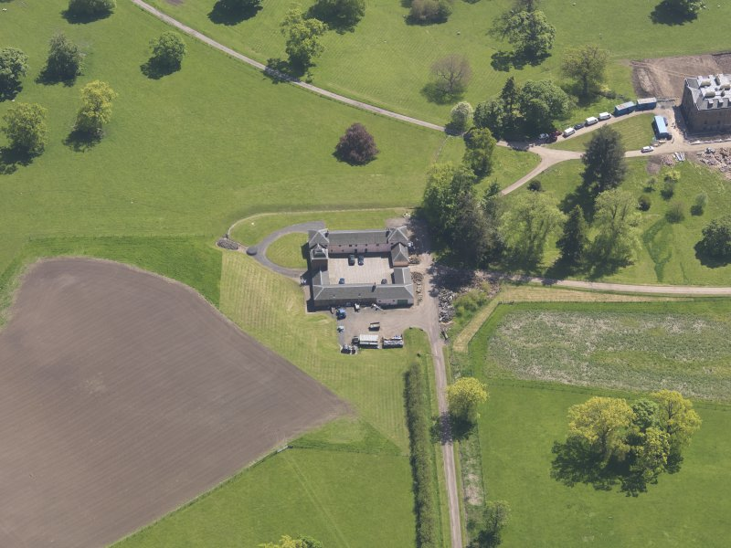 Oblique aerial view of Pitlour House, taken from the NNW.