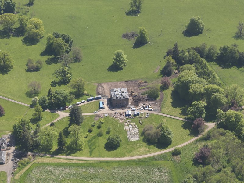 Oblique aerial view of Pitlour House, taken from the NW.