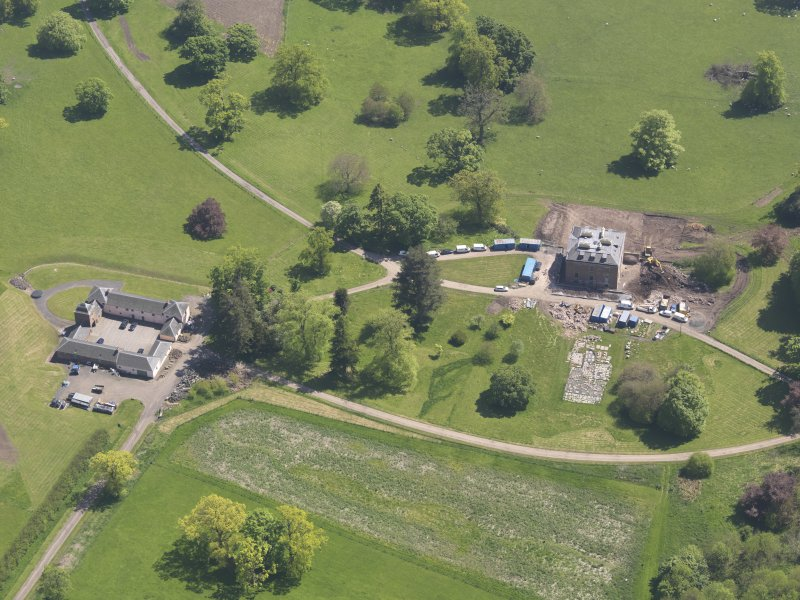 Oblique aerial view of Pitlour House, taken from the WNW.