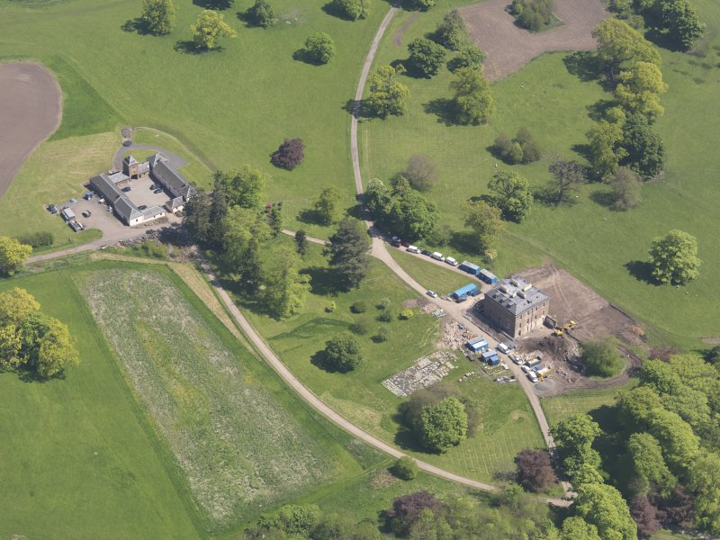 Oblique aerial view of Pitlour House, taken from the W.