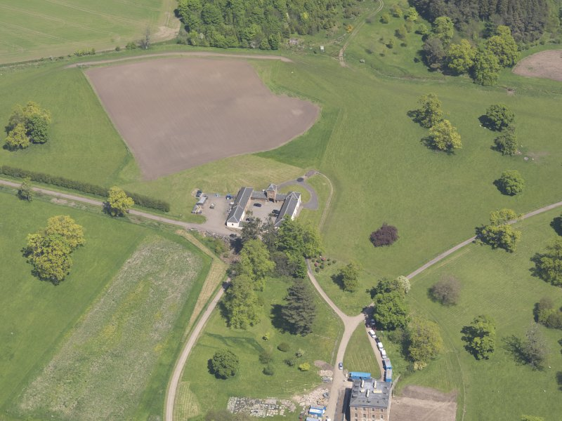 Oblique aerial view of Pitlour House, taken from the WSW.