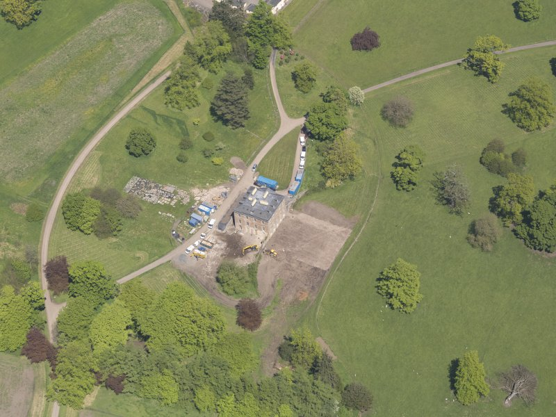 Oblique aerial view of Pitlour House, taken from the SSW.