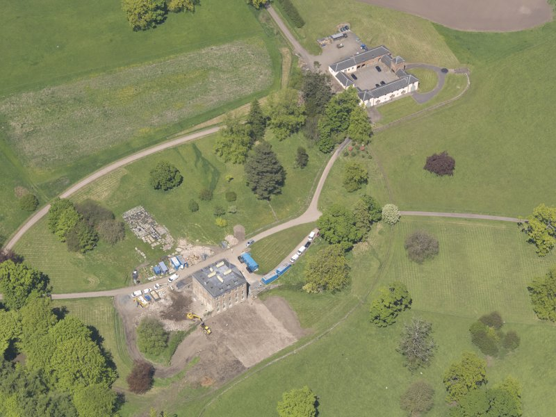 Oblique aerial view of Pitlour House, taken from the S.