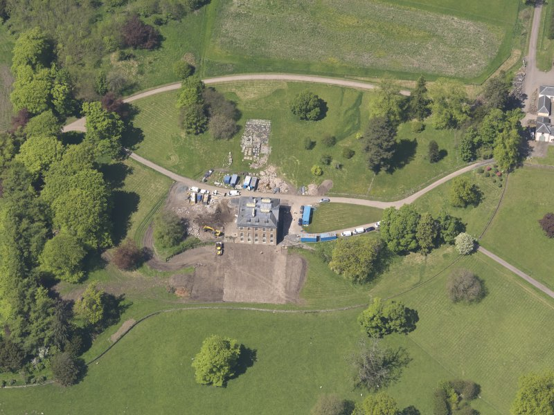 Oblique aerial view of Pitlour House, taken from the SSE.