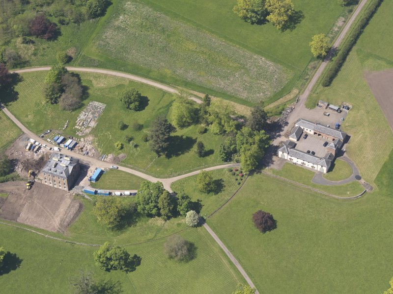 Oblique aerial view of Pitlour House, taken from the SE.
