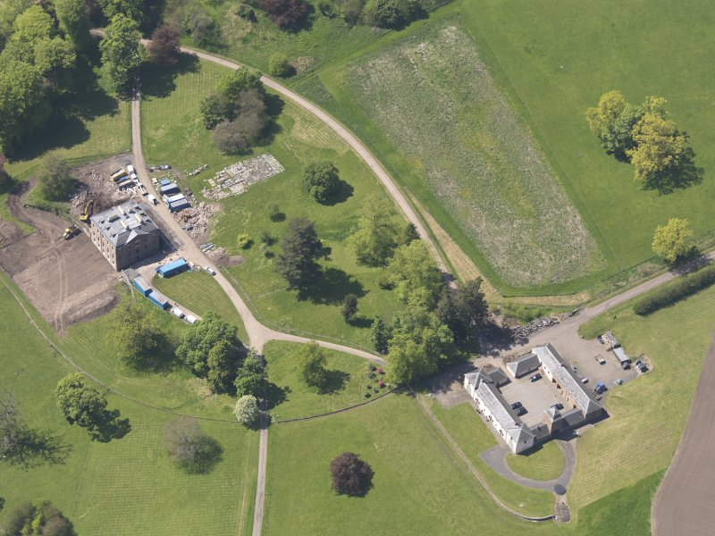 Oblique aerial view of Pitlour House, taken from the E.