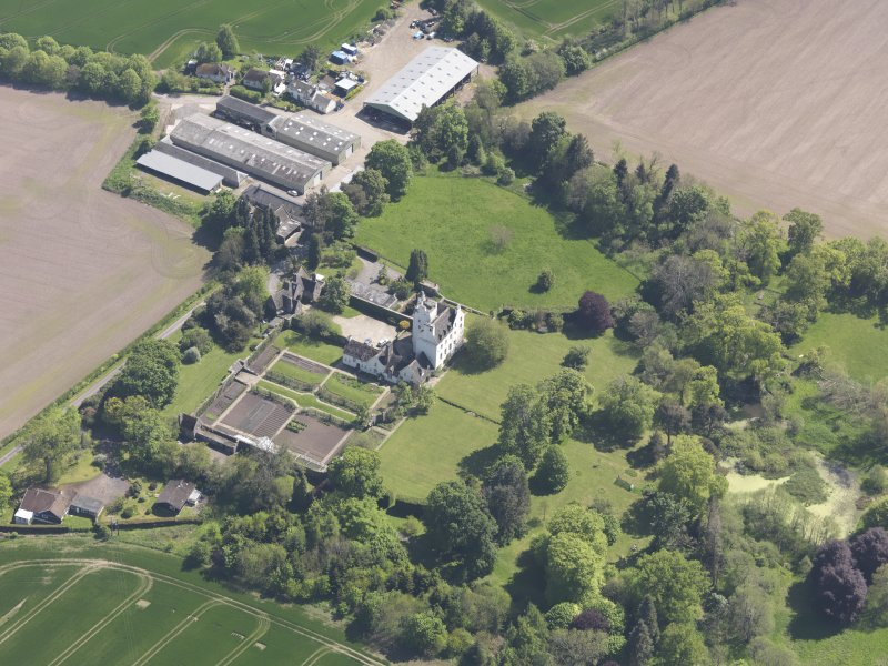 Oblique aerial view of Balmanno Castle, taken from the NNW.