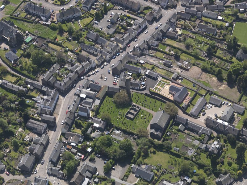 General oblique aerial view of Abernethy centred on the Kirk of St Bride, taken from the E.