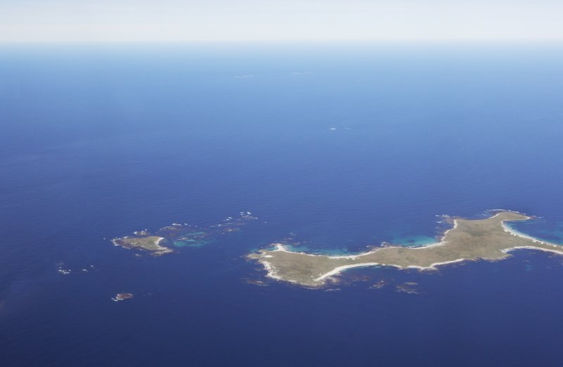 General oblique aerial view of the Monach Islands, taken from the SSE.