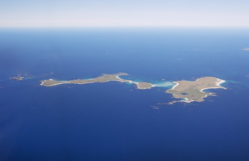 General oblique aerial view of the Monach Islands, taken from the S.