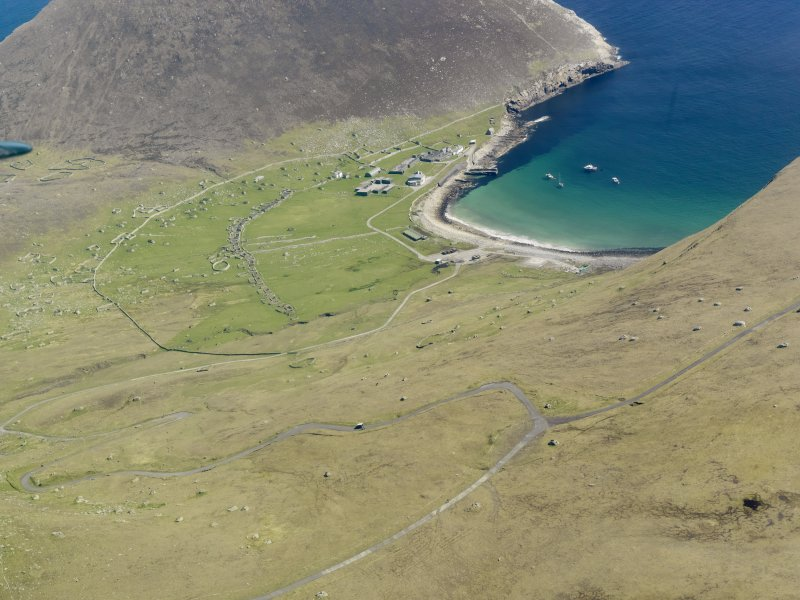 General oblique aerial view of St Kilda, centred on Village Bay, taken from the W.
