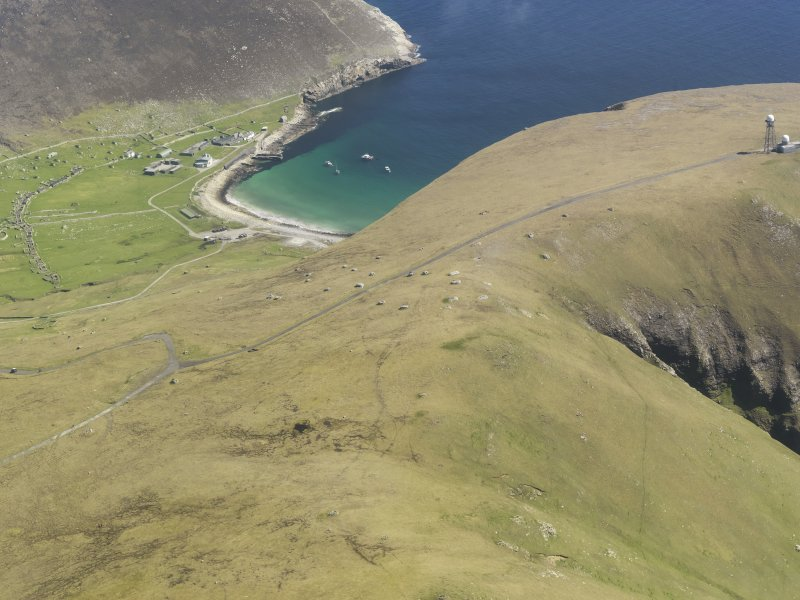 General oblique aerial view of St Kilda, centred on Am Blaid and Village Bay, taken from the WSW