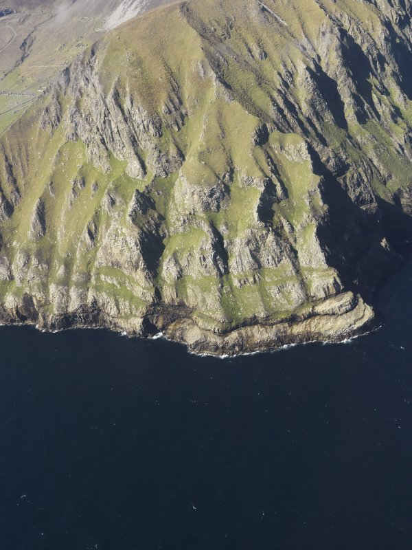 Oblique aerial view of the cliffs at Oisebhal on St Kilda, taken from the SE.