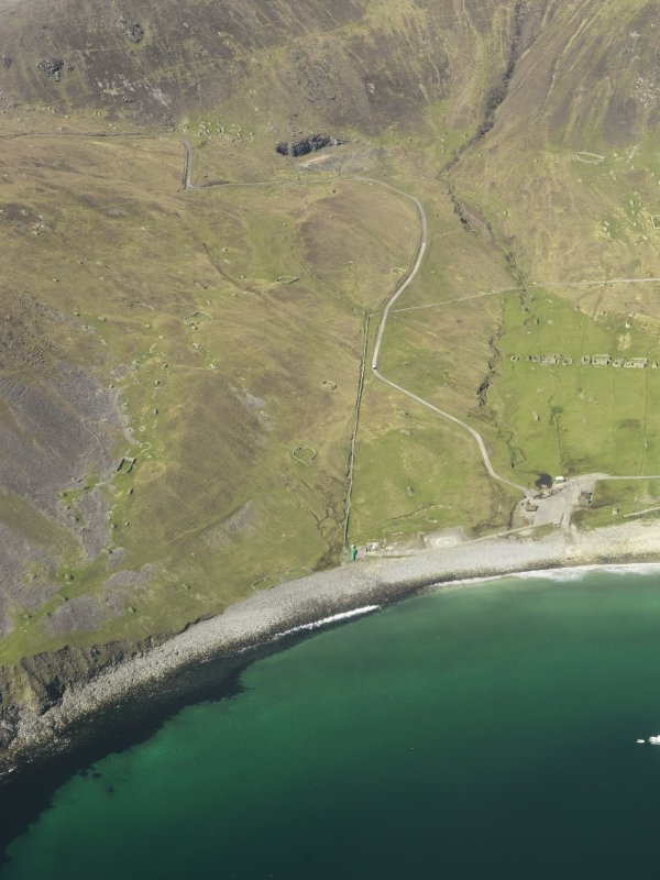 General oblique aerial view of St Kilda, centred on Clash na Bearnaich, taken from the SE.