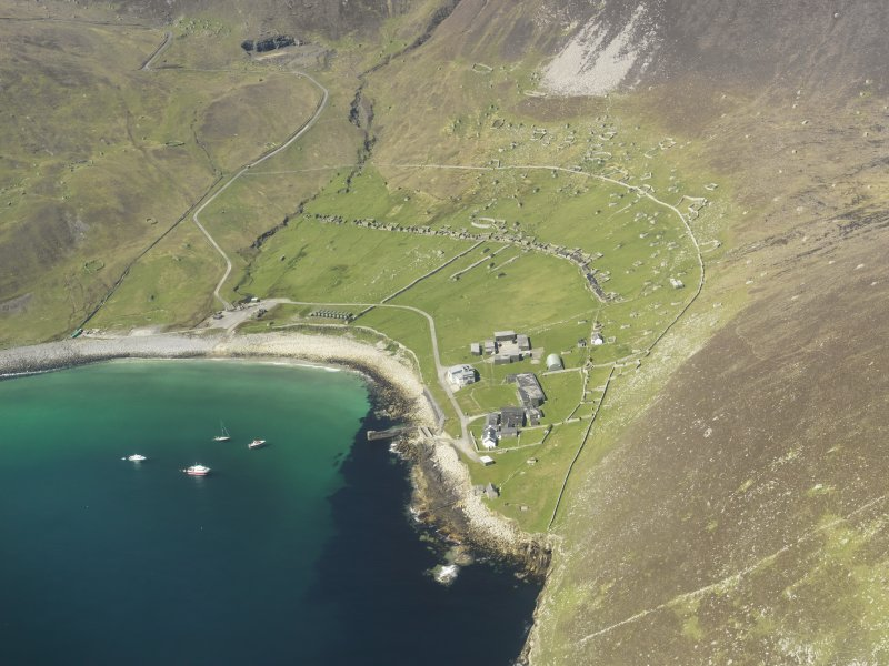General oblique aerial view of St Kilda, centred on Village Bay, taken from the SE.