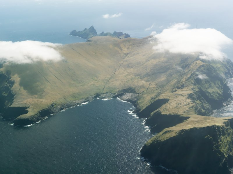 General oblique aerial view of St Kilda, centred on Gleann Mor, taken from the NNW.