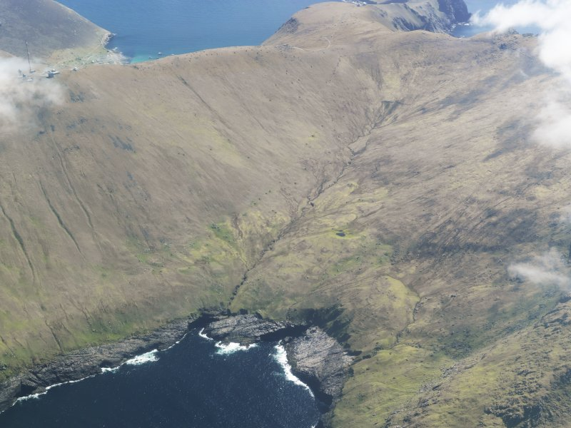General oblique aerial view of St Kilda, centred on Gleann Mor, taken from the NW.