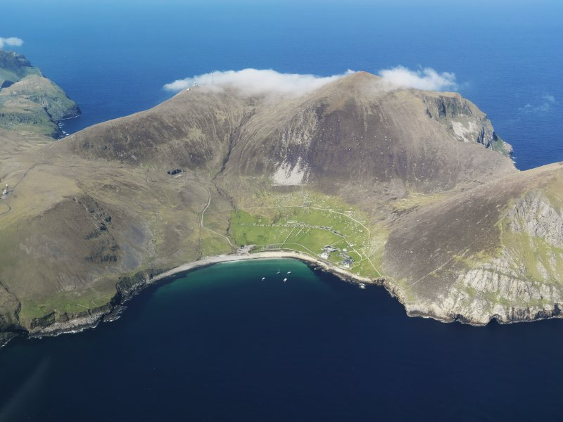 General oblique aerial view of St Kilda, centred on Village Bay, taken from the ESE.