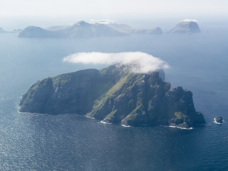 General oblique aerial view of St Kilda, centred on the island of Boreray, taken from the NE.