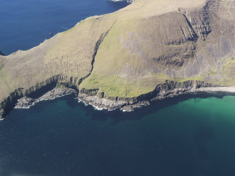 General oblique aerial view of St Kilda, centred on Tobar Na Cille and St Brianan's Church, taken from the E.