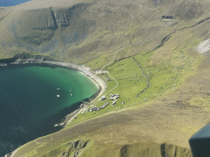 General oblique aerial view of St Kilda, centred on Village Bay, taken from the E.