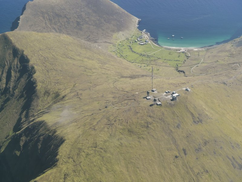 General oblique aerial view of St Kilda, centred on Mullach Mor Radar Station, taken from the NW.