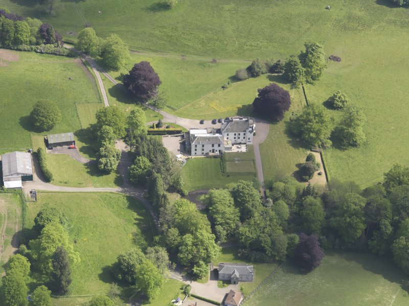 Oblique aerial view of Pitcairlie House, taken from the SSW.