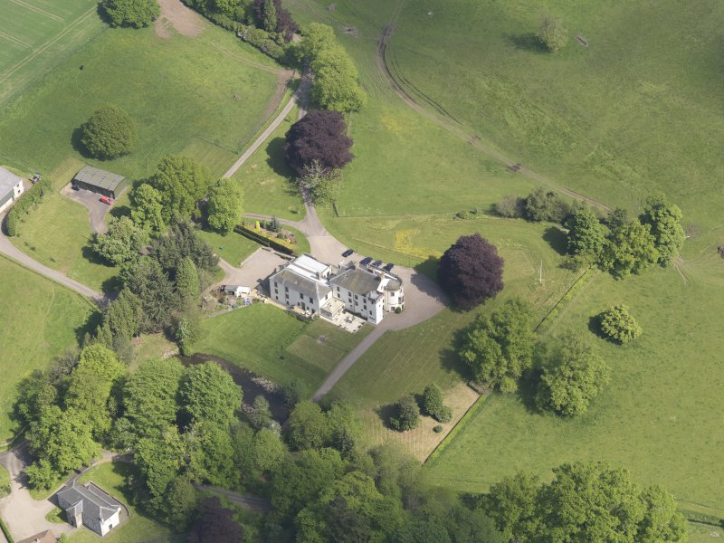 Oblique aerial view of Pitcairlie House, taken from the S.